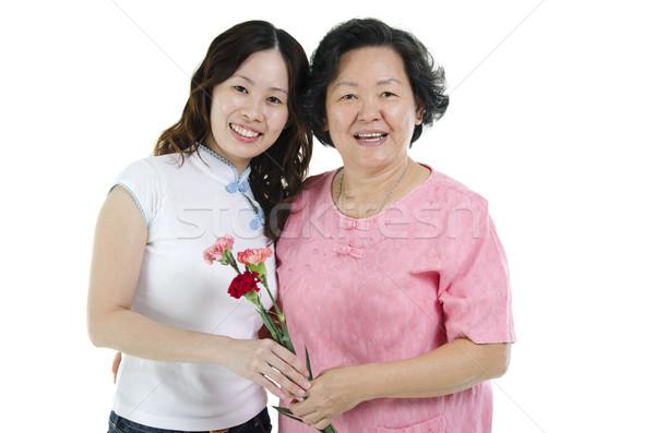 Mutter Tochter Nelke Blume Porträt asian Stock foto © szefei