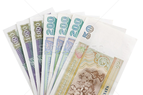 Stockfoto: Myanmar · bankbiljetten · witte · business · wereld · achtergrond