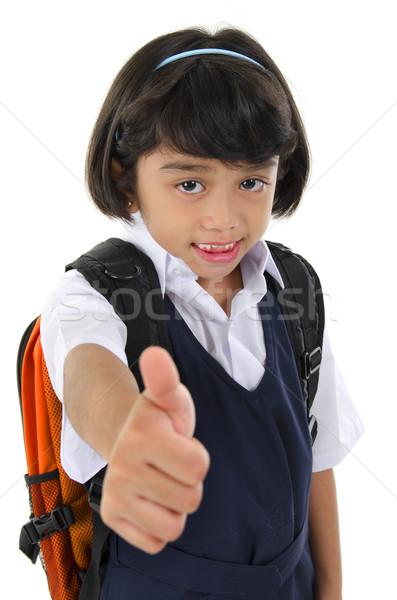 Polegar para cima escola primária menina sudeste asiático Foto stock © szefei