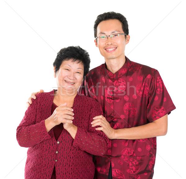 Asian chinese familie zegen gelukkig Stockfoto © szefei