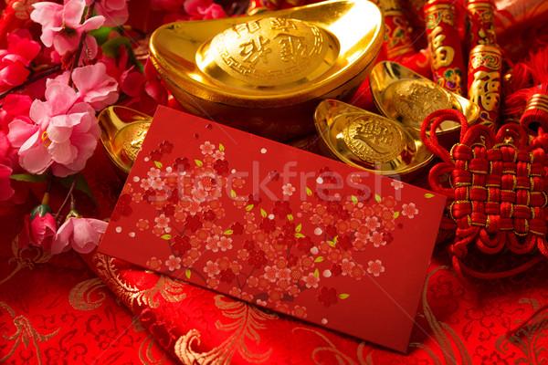 Kínai új év fesztivál díszítések piros arany virág Stock fotó © szefei