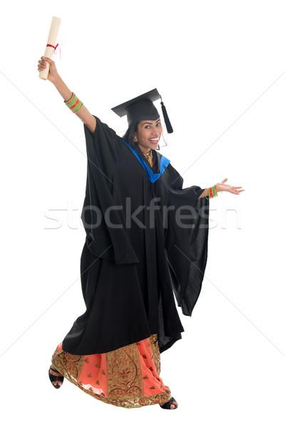Stock fotó: Egészalakos · indiai · egyetemi · hallgató · ugrik · teljes · alakos · boldog