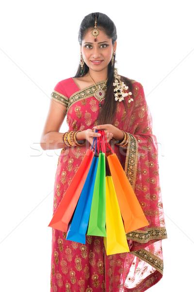 Indian vrouw portret mooie Stockfoto © szefei