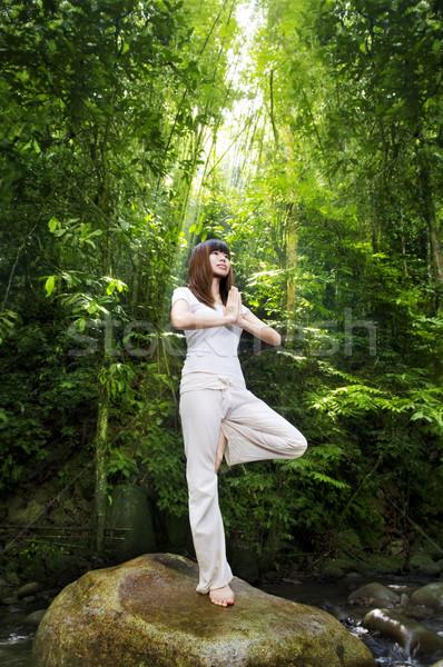 медитации женщины тропические леса Постоянный Сток-фото © szefei