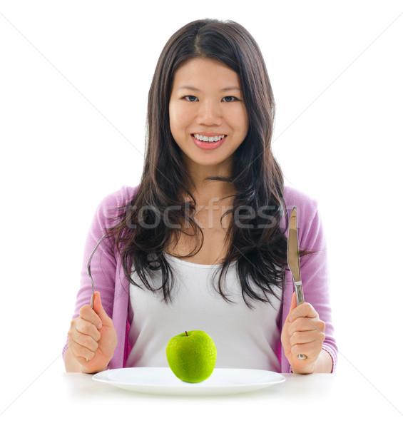 Diyet meyve sağlıklı beslenme Asya kız Stok fotoğraf © szefei