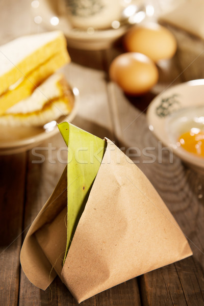 Traditional Malaysian breakfast nasi lemak Stock photo © szefei