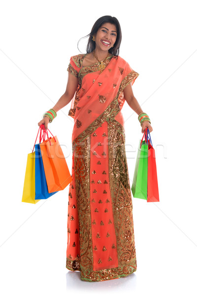 Indian woman in sari dress shopping Stock photo © szefei