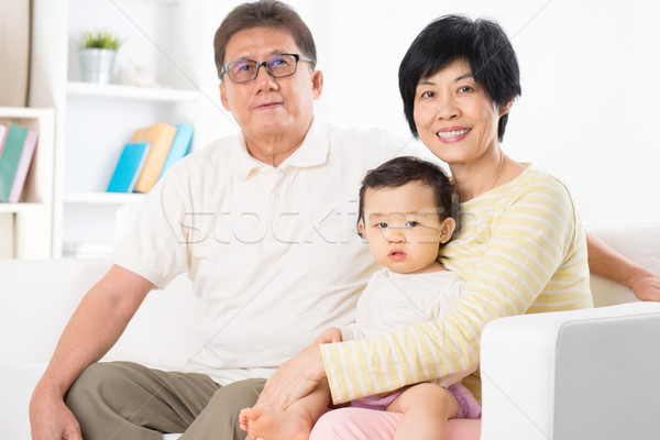 Asian family portrait Stock photo © szefei