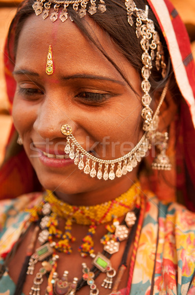 Traditional Indian woman smiling Stock photo © szefei