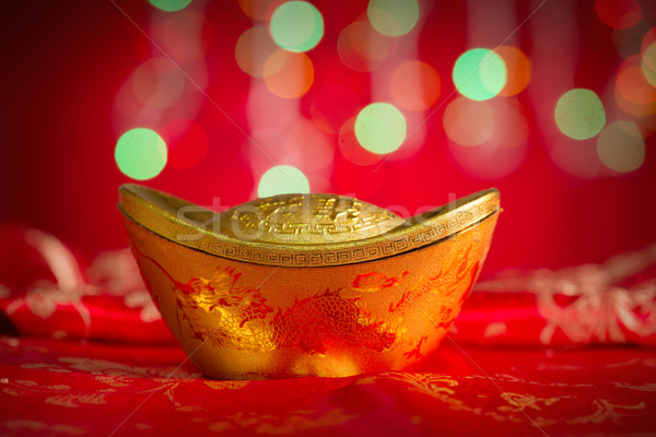Chinese New Year object gold ingot Stock photo © szefei