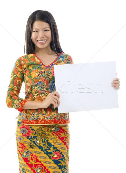Asian woman holding placard Stock photo © szefei