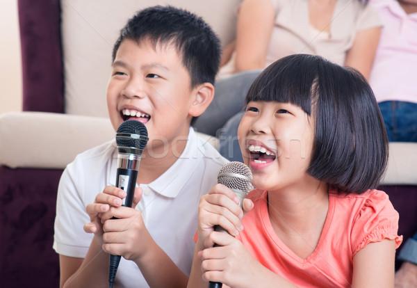 Család otthon portré boldog ázsiai gyerekek Stock fotó © szefei