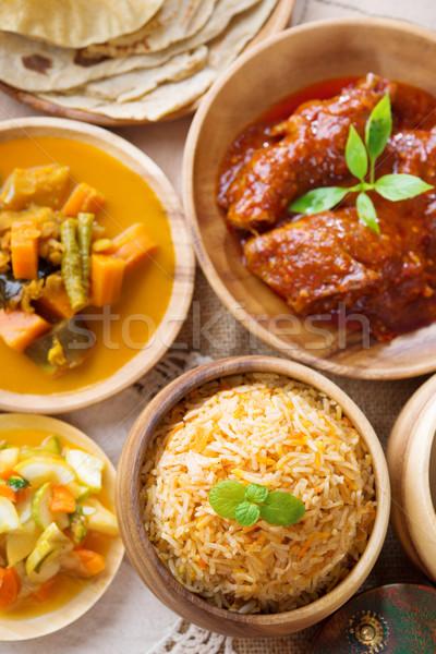 Сток-фото: риса · карри · свежие · приготовленный · басмати · специи