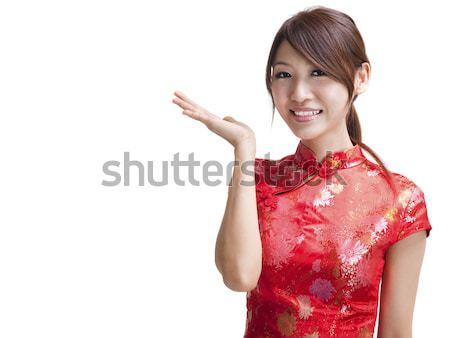 üres tábla távolkeleti szépség ázsiai kínai nő Stock fotó © szefei
