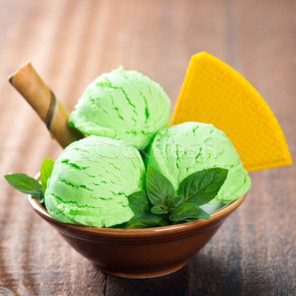 Bowl of pistachio ice cream  Stock photo © szefei