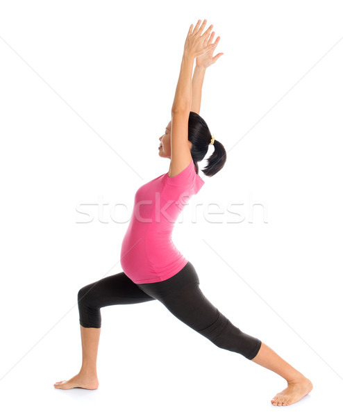 Pregnant yoga pose Stock photo © szefei