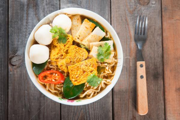 пряный карри суп вилка Сток-фото © szefei