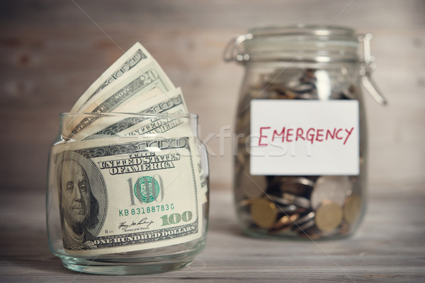 Financial concept with emergency label. Stock photo © szefei