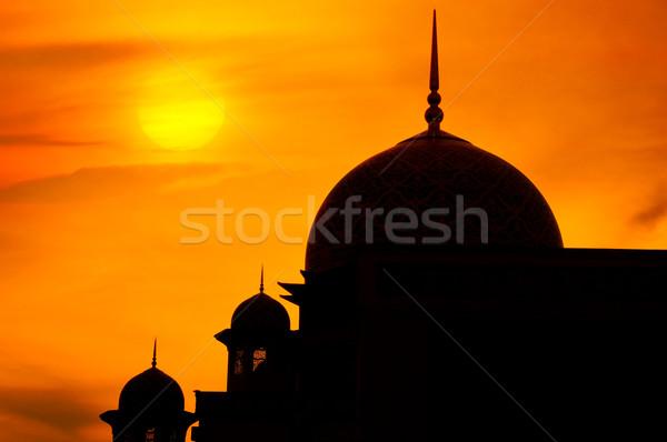 Mecset naplemente tájkép sziluett sötét Ázsia Stock fotó © szefei