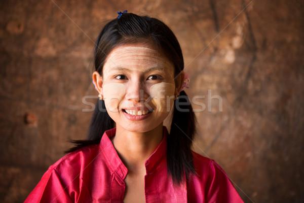 Giovani Myanmar ragazza femminile terra corteccia Foto d'archivio © szefei
