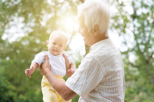 Nonno nipote outdoor parco nonno Foto d'archivio © szefei