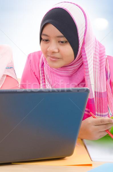 Muslim college girls Stock photo © szefei