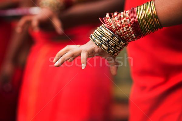 Hindu devotee's hand Stock photo © szefei