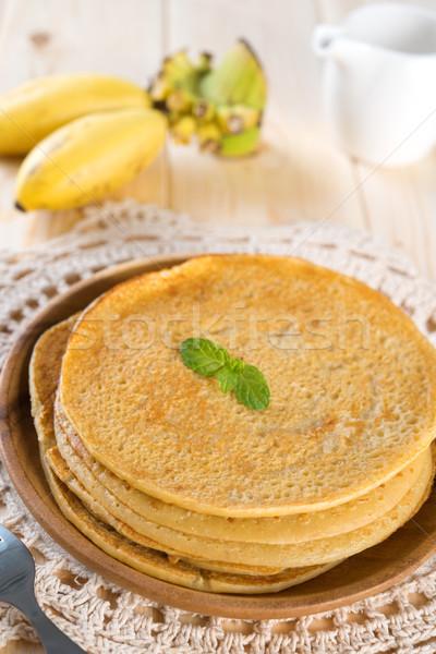 Stockfoto: Asian · stijl · banaan · pannenkoeken · eigengemaakt · ontbijt