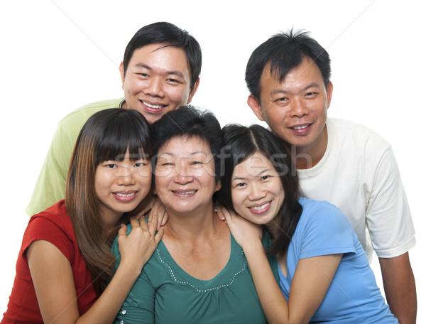 アジア 家族の肖像画 幸せ シニア 母親 成人 ストックフォト © szefei