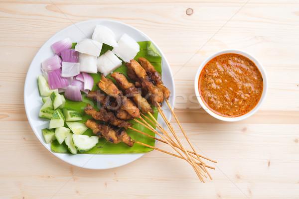 Asian gourmet chicken satay Stock photo © szefei