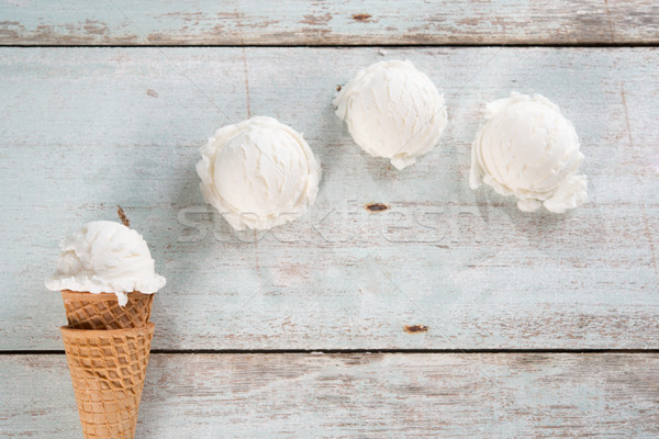 Vanilla ice cream cone Stock photo © szefei