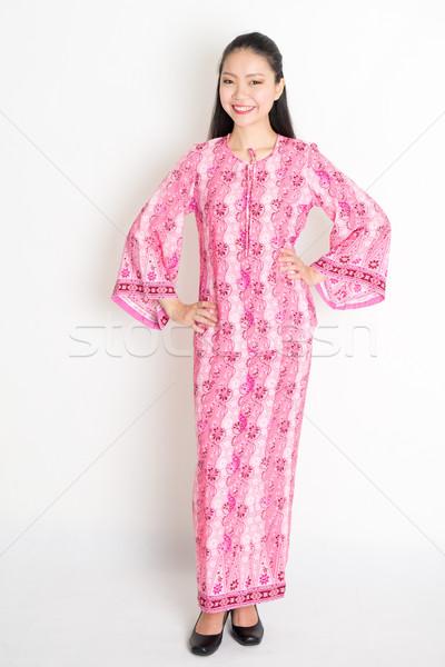 Délkelet ázsiai női portré fiatal hagyományos Stock fotó © szefei
