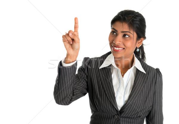 Hint işkadını parmak dokunmak sanal şeffaf Stok fotoğraf © szefei