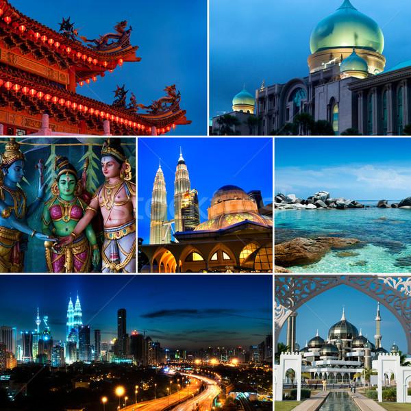 Colagem Malásia chinês templo indiano Foto stock © szefei