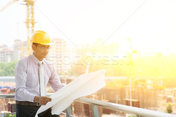 Asian Indian site contractor engineer working Stock photo © szefei