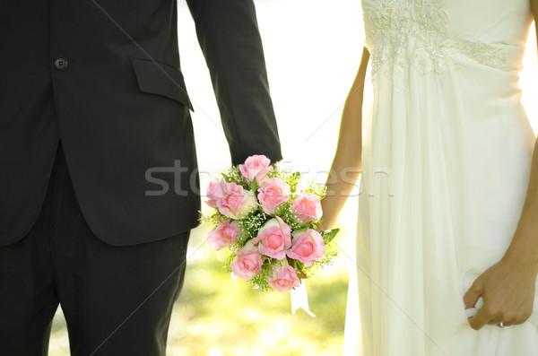 Открытый невеста жених букет девушки Сток-фото © szefei
