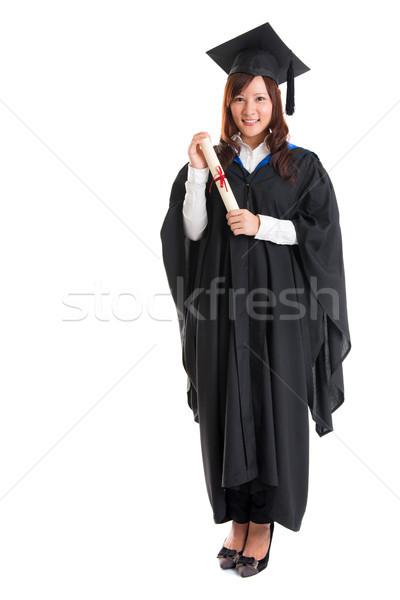 Egészalakos ázsiai női diák boldog érettségi Stock fotó © szefei