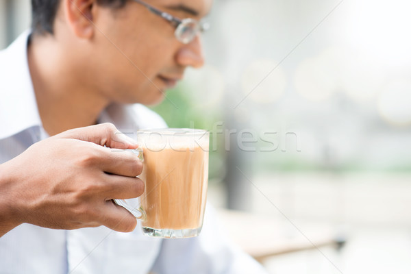 Man and milk tea Stock photo © szefei