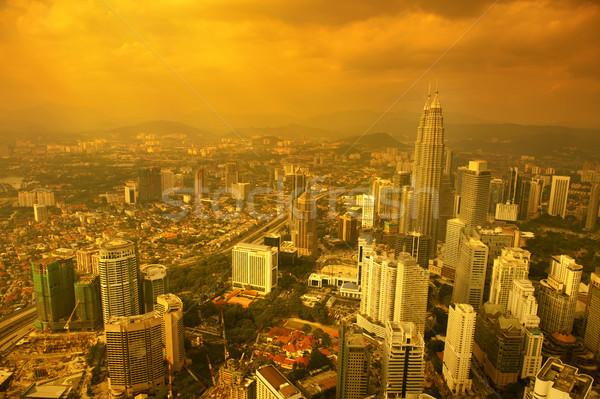 Kuala Lumpur gün batımı altın ufuk çizgisi Stok fotoğraf © szefei