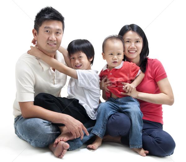 ストックフォト: 幸せ · アジア · 家族 · 座って · 白 · 男