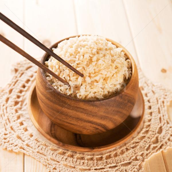 Eten rijst eetstokjes gekookt organisch Stockfoto © szefei