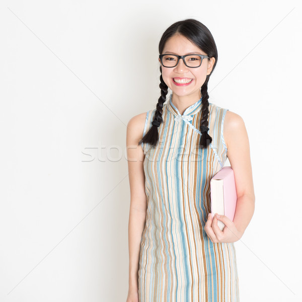 Asian Chinese college girl Stock photo © szefei
