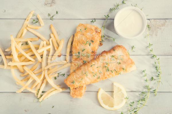 Haut vue poissons puces vintage style Photo stock © szefei