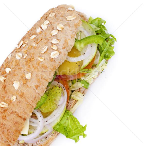 Сток-фото: растительное · сэндвич · изолированный · белый · фон · завтрак
