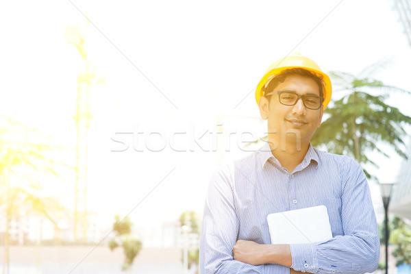 Asian Indian male contractor engineer portrait Stock photo © szefei