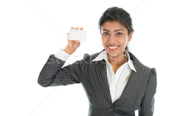 Black business woman showing business card Stock photo © szefei
