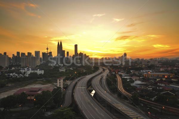 Kuala Lumpur şehir gün batımı görmek Malezya Stok fotoğraf © szefei
