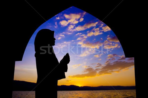 Stock fotó: Muszlim · imádkozik · mecset · sziluett · női · naplemente