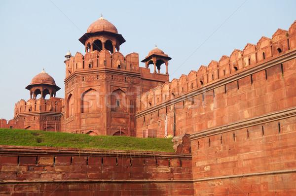 Rouge fort Delhi Inde construction mur Photo stock © szefei