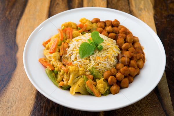 Vegetáriánus rizs curry friss főtt basmati Stock fotó © szefei